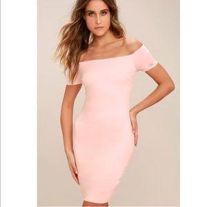 Lulu's Blush Off-the-Shoulder Bodycon Dress